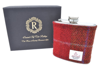 6oz Stainless Steel Hip Flask wrapped in Red and Brown Tartan Harris Tweed Sleeve