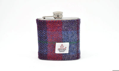 Harris Tweed Hip Flask blue and red HT18 on its own