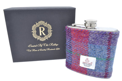 6oz Stainless Steel Hip Flask wrapped in Red, Grey and Purple Tartan Harris Tweed Sleeve