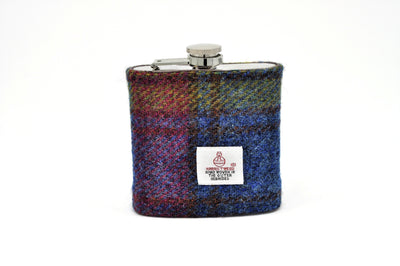 Harris Tweed Hip Flask multicoloured tartan HT19 on it own