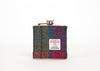 Harris Tweed Hip Flask - Blue Pink Yellow Pattern