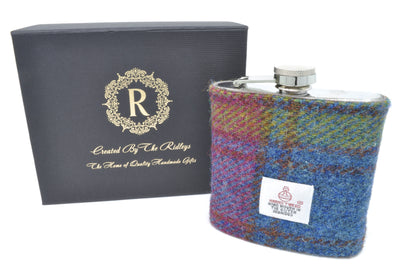 6oz Stainless Steel Hip Flask wrapped in a multicoloured Tartan Harris Tweed Sleeve