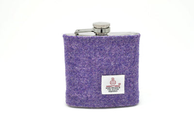 Harris Tweed Hip Flask lavender purple HT21 on its own