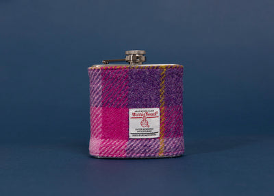 Stainless Steel Hip Flask with Harris Tweed Sleeve