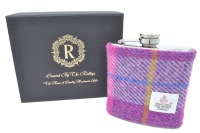 6oz Stainless Steel Hip Flask wrapped in Pink and Purple Tartan Harris Tweed Sleeve