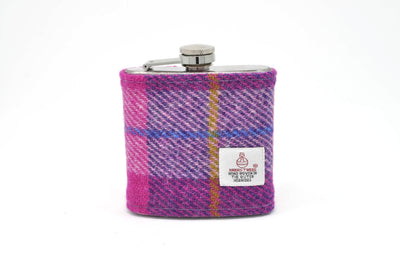 Harris Tweed Hip Flask Pink and Purple HT22 on its own