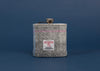 Harris Tweed Hip Flask - Light Grey with pink and blue stripe