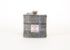 Harris Tweed Hip Flask - Dark Grey with grey and blue stripe