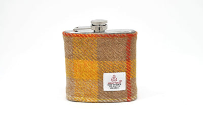 Harris Tweed Hip Flask yellow and beige with red strips HT28 on its own