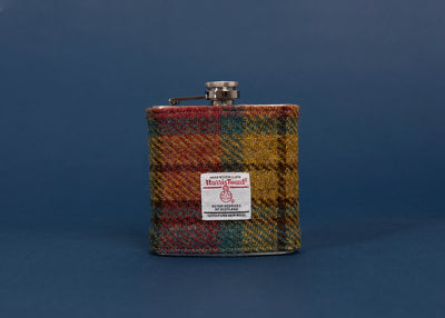 Stainless Steel Hip Flask with Harris Tweed Sleeve Autumn Colours