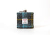 Harris Tweed Hip Flask - Dark Grey and turquoise stripe