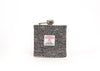 Stainless Steel Hip Flask with Harris Tweed Sleeve Black and Grey Herringbone