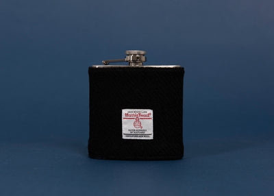 Stainless Steel Hip Flask with Harris Tweed Sleeve Black