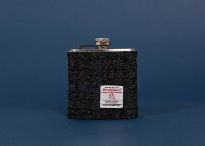 Stainless Steel Hip Flask with Harris Tweed Sleeve Slate Grey