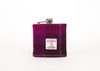 Stainless Steel Hip Flask with Harris Tweed Sleeve Dark Pink