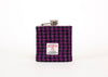 Stainless Steel Hip Flask with Harris Tweed Sleeve Dark Pink and Black Houndstooth