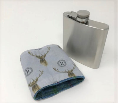 Stainless Steel Hip Flask with Harris Tweed Sleeve Pale Pink