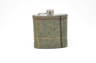 Northumberland Tweed Hip Flask Sage green with yellow and red strips NT01 on its own