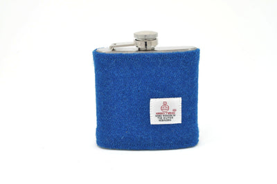 Stainless Steel Hip Flask with Harris Tweed Sleeve Turquoise