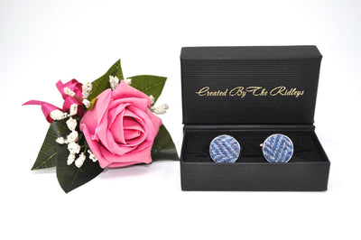 Harris Tweed Cufflinks Blue Herringbone