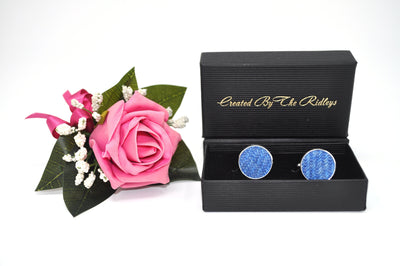 Harris Tweed Cufflinks Blue HT01