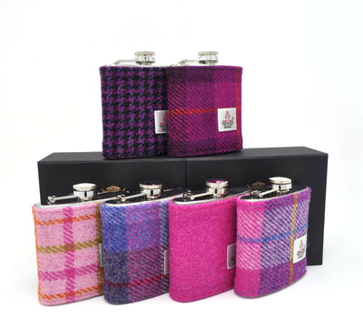 Set of 6 Six Harris Tweed Hip Flasks