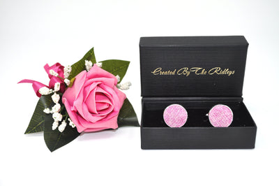 Harris Tweed Cufflinks Pink