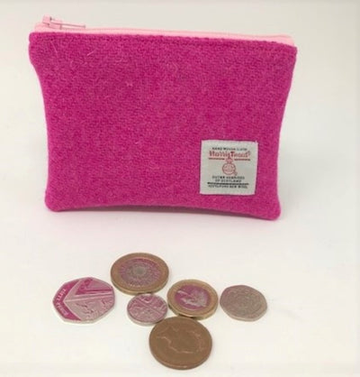 Harris Tweed coin purse  Fusia Pink
