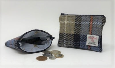 Harris Tweed coin purse MacKenzie Tartan Blue, Dark Grey