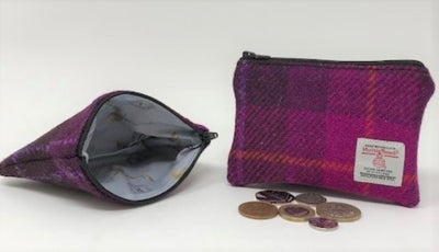 Harris Tweed coin purse Fuschia Pink Tartan