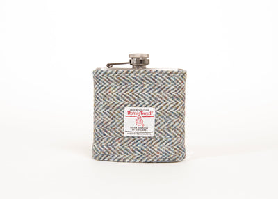 Stainless Steel Hip Flask with Harris Tweed Sleeve Grey Herringbone