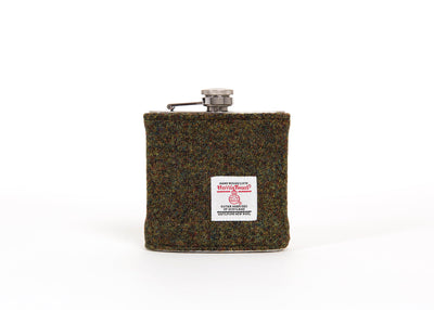 Stainless Steel Hip Flask with Harris Tweed Sleeve Moss Green