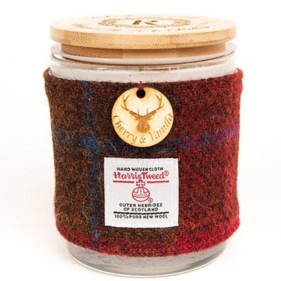 Cherry and Vanilla Soy Candle with Harris Tweed Sleeve