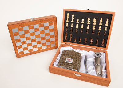 Harris Tweed 8oz Hip Flask Chess Gift Set