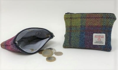 Harris Tweed coin purse Pink Blue Yellow