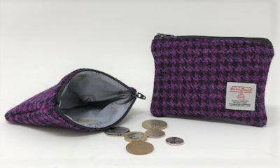 Harris Tweed coin purse Fuschia Pink and Black Houndstooth