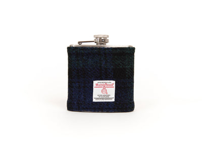 Harris Tweed Hip Flask - Blackwatch Tartan