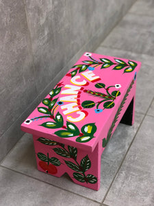 "Pink stool in car rapide art ""Chance"""