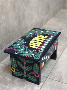 "Navy blue stool in car rapide art ""Home"""