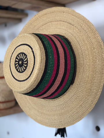 Pink and Green Ghanian Straw Hat