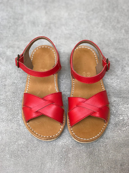 Candy Apple Red Leather Sandals
