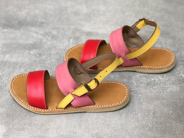 Pink and Red Colorblock Leather Sandals