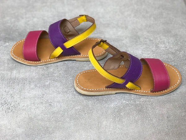 Pink and Purple Colorblock Leather Sandals