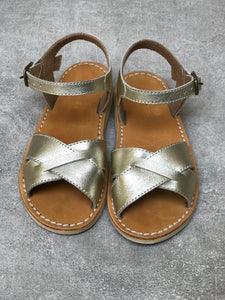 Glimmering Gold Leather Sandals