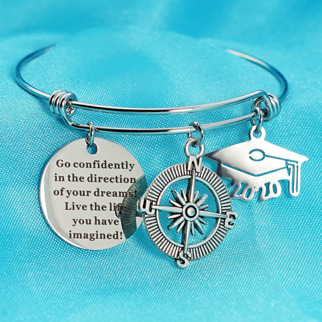 Personalized 2020 Graduation Bracelet Charms Bangle Bracelet with Engraving