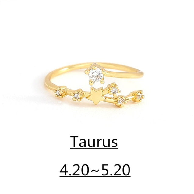 Birthday Gift 12 Constellation Ring Horoscope Women Cubic Zirconia Rings