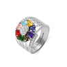 family ring with 8 birthstone 8 names mothers ring sterling silver Thank mom or grandma