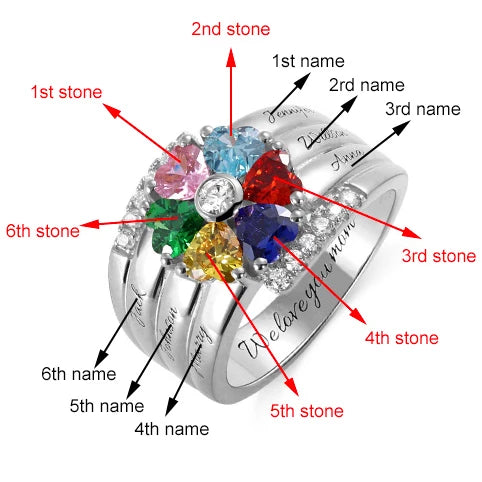 family ring with 6 birthstone 6 names sterling silver personalized custom gift for mom