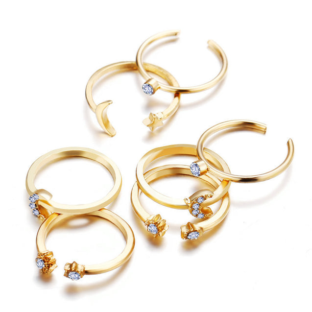 Star Moon Ring Set 7 Piece Set