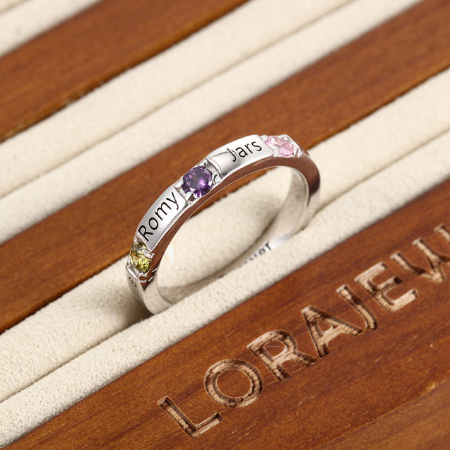 Family Rings with 3 Birthstones Personalized Band Ring Engraved 4 Names Mother's Day Rings